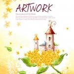 دانلود طرح لایه باز هنری خانه ای در شکوفه PSD Source House on Bloom