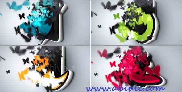 دانلود افترافکت نمایش لوگو با پروانه Butterflies Logo Reveal After Effects
