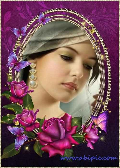 دانلود قاب عکس دیجیتال لوکس Frame for Photoshop Luxury Roses