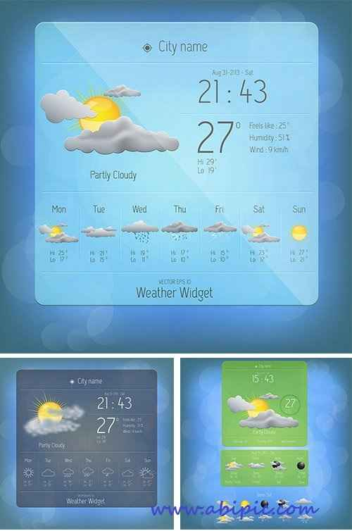 دانلود وکتور تمپلت ویجت آب و هوا Weather widget template Vector