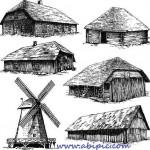 دانلود وکتور خانه های چوبی و روستایی Vectors – Old Rural Buildings