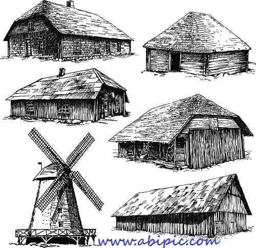دانلود وکتور خانه های چوبی و روستایی Vectors - Old Rural Buildings