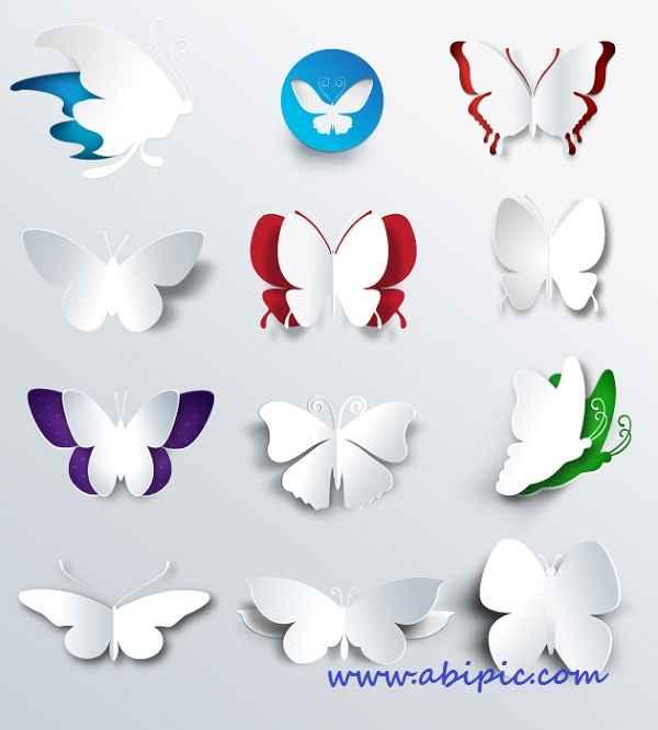 دانلود وکتور 3 بعدی پروانه انتزائی Abstract 3D Butterflies