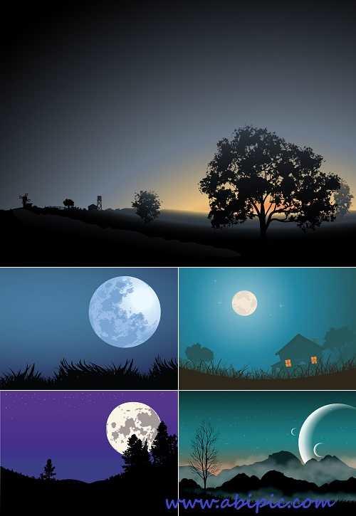 دانلود وکتور منظره شب سری 1 Stock Vector Night Landscape