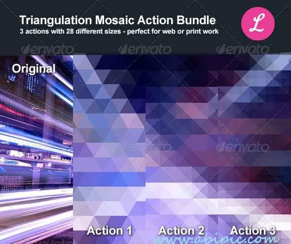 دانلود اکشن فتوشاپ افکت موزائیکی و مثلتی Triangulation Mosaic Bundle Actions