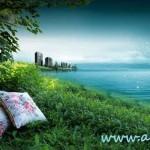 دانلود سورس لایه باز فتوشاپ منظره دریا ساحل و شهر