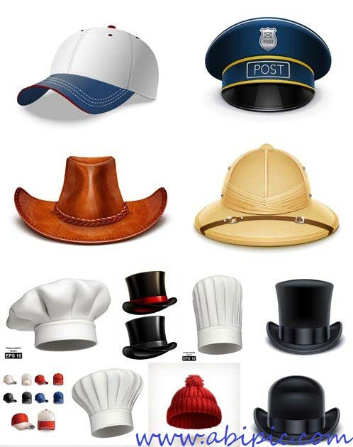دانلود وکتور 15 مدل مختلف کلاه Different Hats Vector