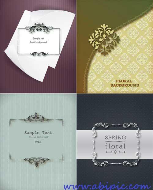 دانلود تصاویر وکتور کادر و فریم زیبا و گلدار Spring Floral Vector Frames