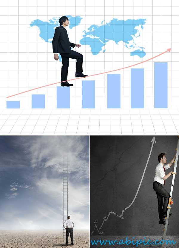 دانلود تصاویر استوک پله و نردبان ترقی و پیشرفت سری 2 Stock Photos - Businessman Stepping Up