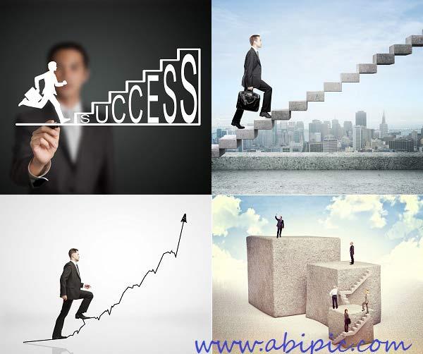 دانلود تصاویر استوک پله و نردبان ترقی و پیشرفت سری 1 Stock Photos - Businessman Stepping Up