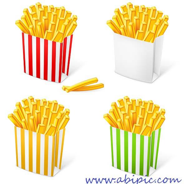 دانود وکتور سیب زمینی سرخ کرده در بسته بندی مختلف French fries in a striped packaging