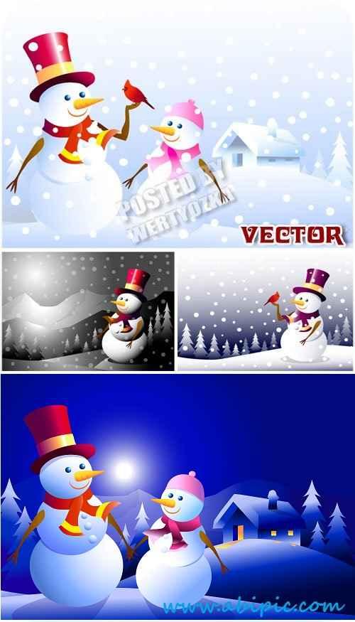 دانلود طرح وکتور آدم برفی و فصل زمستان Snowmen,winter house stock vector