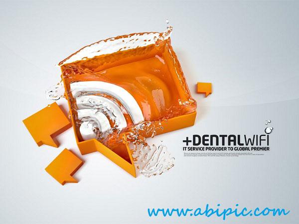 دانلود سوروس لایه باز آیکون وایرلس Water WiFi PSD