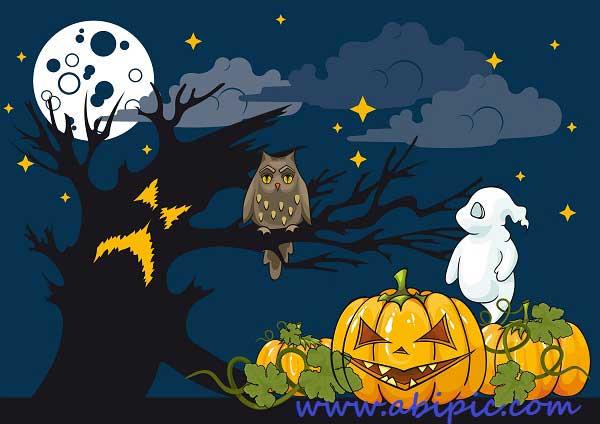 دانلود وکتور پس زمینه ترسناک هالووین Halloween Themed Illustration