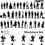 دانلود وکتور سیلوئیت نوازنده و خواننده Vectors – Musicians Set