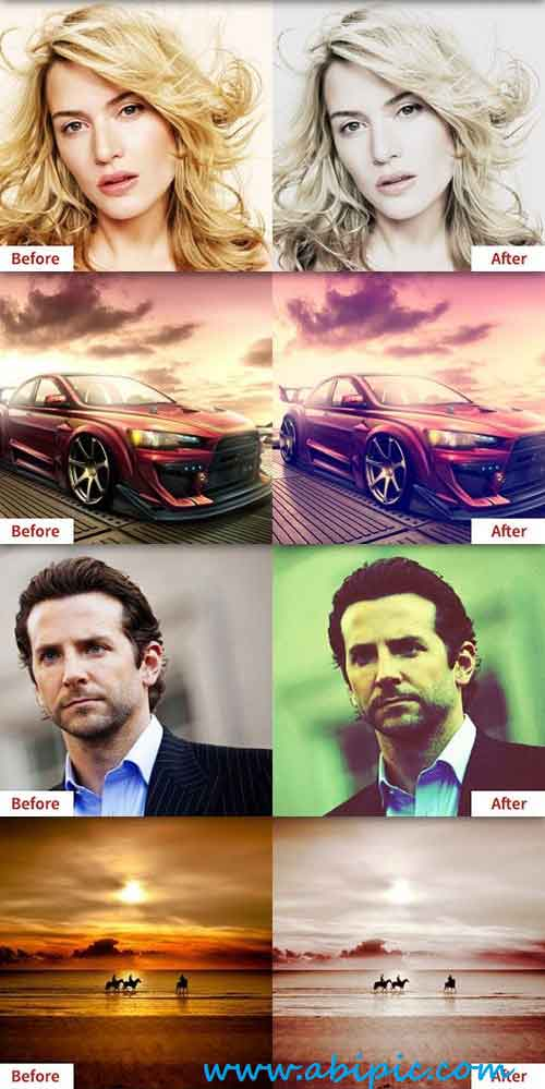 دانلود 8 فیلتر تغییر رنگ عکس 8 Cool Photo Effects for Photoshop