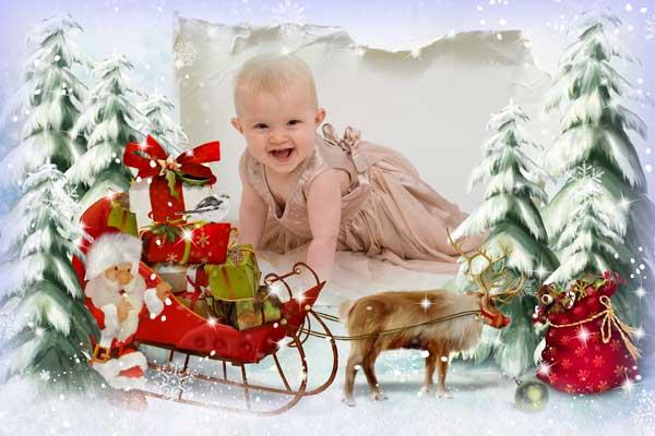 دانلود قاب عکس فتوشاپ کریسمس Frame for Photoshop - To gift