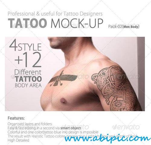 دانلود طرح لایه باز خالکوبی روی بدن Tattoo Mock up