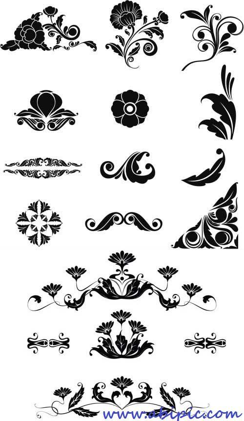 دانلود وکتور گل و بوته برای طراحی کادر و حاشیه شماره 13 Vectors - Ornate Floral Elements