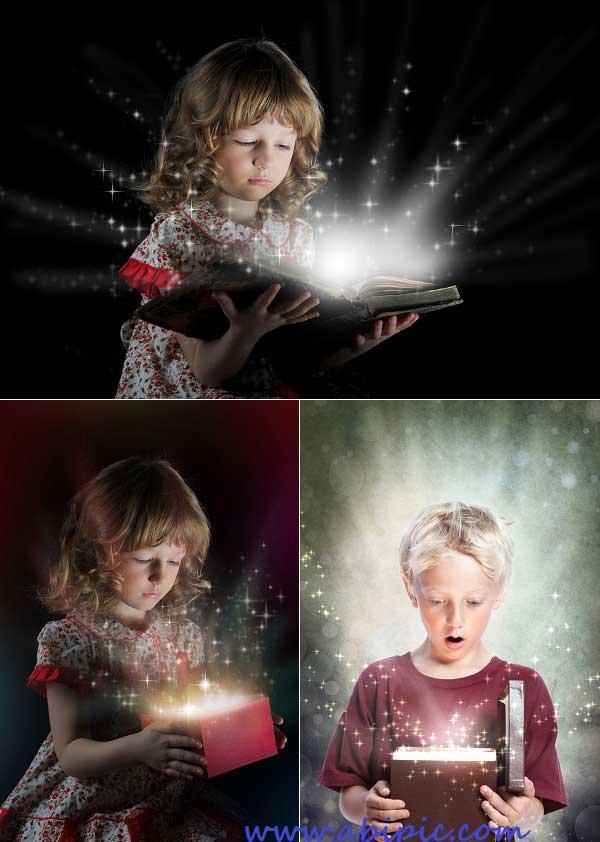 دانلود تصاویر استوک کودکان با هدیه و جادو Children with gifts and fairy tales - Stock photo