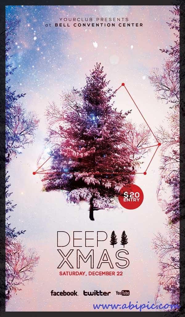 دانلود طرح لایه باز پوستر مخصوص کریسمس CHRISTMAS FLYER