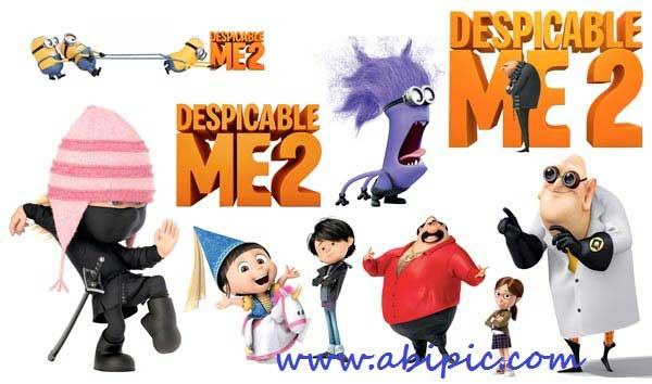دانلود طرح لایه باز تمام شخصیت های کارتون PSD Cliparts Despicable Me 2