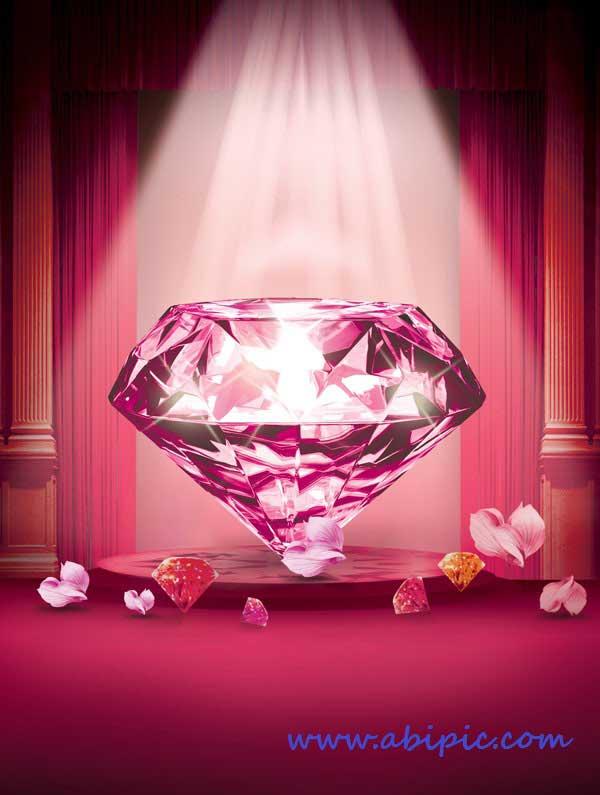 دانلود سورس فتوشاپ لایه باز الماس صورتی PSD Source - Pink Diamond