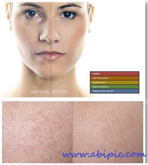 دانلود 5 اکشن روتوش حرفه ای پوست Skin Retouching Photoshop Actions