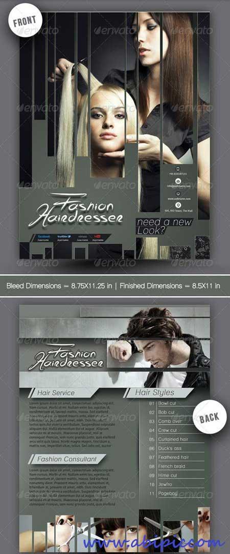 دانلود طرح لایه باز پوستر مخصوص آرایشگاه سری 3 Hair Salons Flyer Template