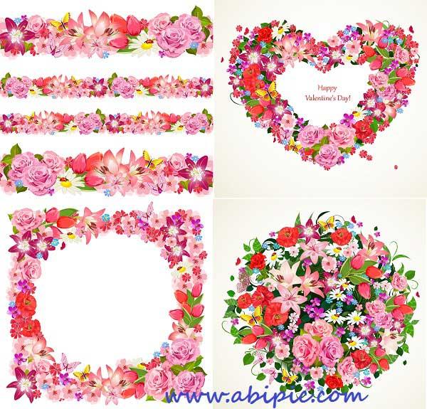 دانلود وکتور کادر و المان های تزئینی گلدار و عاشقانه Beautiful flowers vector