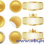 دانلود وکتور لیبل و برچسب های طلایی شماره 3 Vectors Golden Different Elements