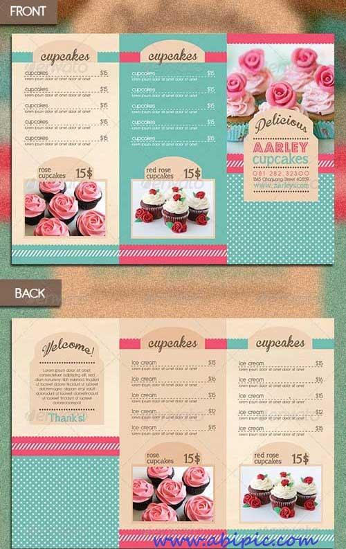 دانلود وکتور منو 3 لت زیبا برای شیرینی فروشی و شیرینی پزی ها Trifold Cupcakes Menu