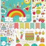 دانلود وکتور طرح های تزئینی تولد Happy birthday decoration elements vector stock