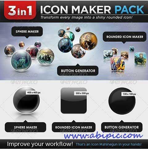 دانلود اکشن فتوشاپ ساخت آیکون ها و دکمه های گرد PSD Rounded Icon maker