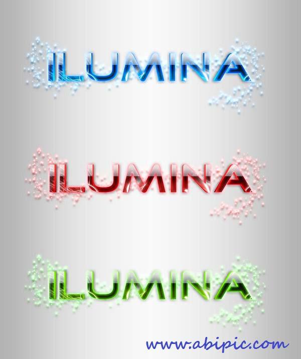 دانلود استایل فتوشاپ نورانی و درخشان Ilumina Glowing Text Styles