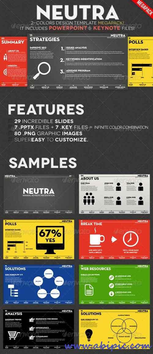 دانلود قالب آماده پاورپوینت شماره 4 Two Colors PowerPoint & Keynote Pack