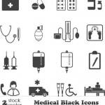 دانلود وکتور پزشکی و بهداشتی Vectors Medical Black Icons