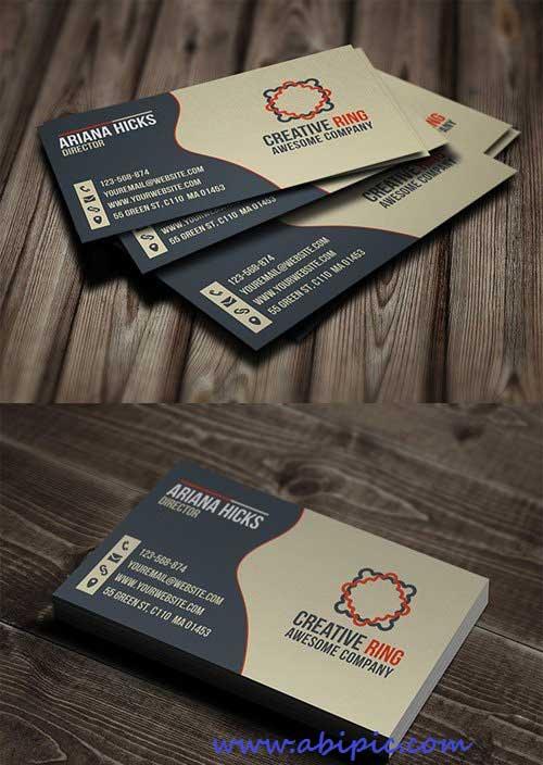 دانلود کارت ویزیت لایه باز خلاقانه شماره 7 Creative Ring Business Card PSD