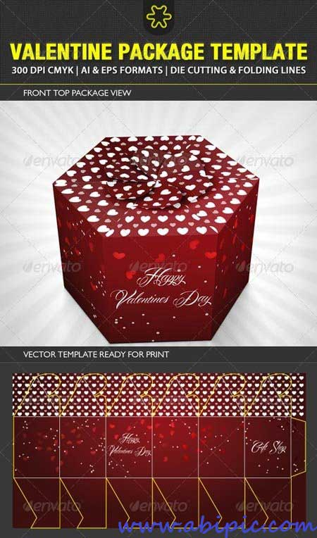 دانلود وکتور طرح جعه کادو و هدیه Valentine Package Template