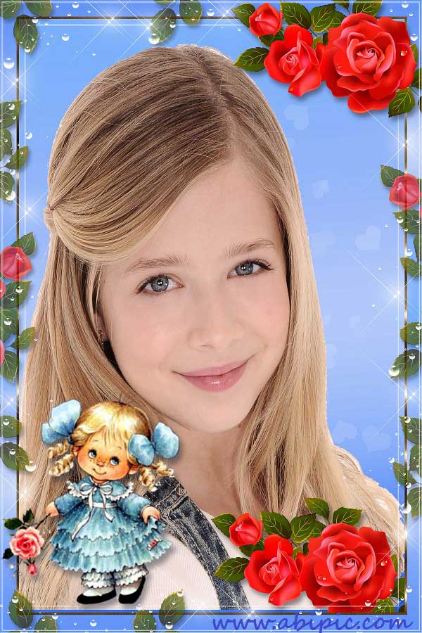دانلود فریم قاب عکس کودکانه با طرح گل رز قرمز child's.Frame