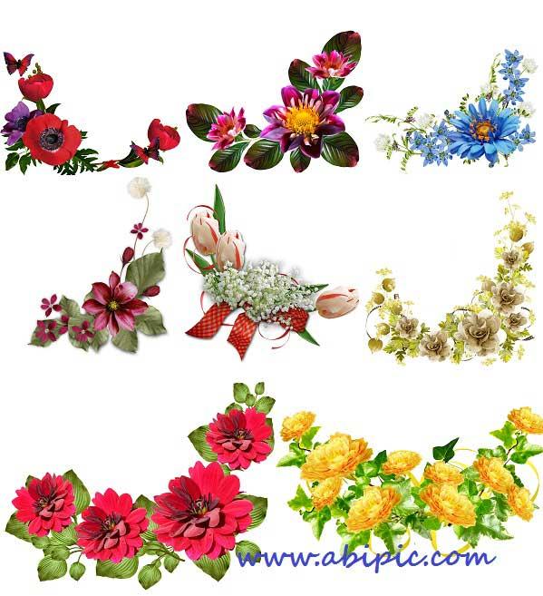 دانلود تصاویر پس زمینه شفاف کادر و حاشیه گل سری 3 Floral corners for Photoshop