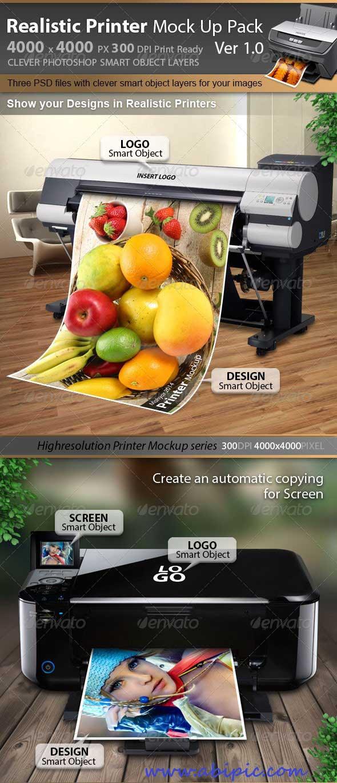 دانلود موک آپ و پیش نمایش پرینتر و پلاتر Printer & Plotter Mockup