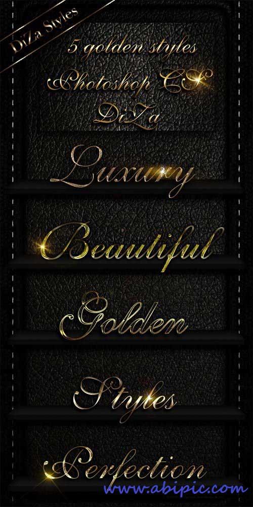 دانلود افکت متن فتوشاپ طلایی golden Photoshop styles