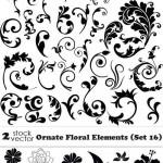 دانلود وکتور عناصر گل و بوته تزئینی شماره 14 Vectors – Ornate Floral Elements