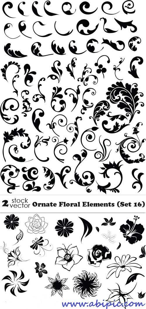 دانلود وکتور عناصر گل و بوته تزئینی شماره 14 Vectors - Ornate Floral Elements
