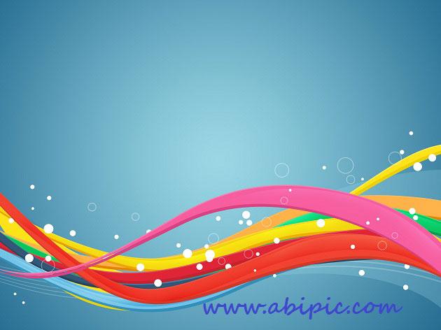 دانلود طرح لایه باز موج های رنگی انتزائی PSD Abstract Waves Colors