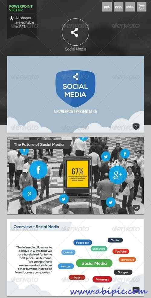 دانلود قالب آماده پاورپوینت شماره 9 Social Media Powerpoint Template