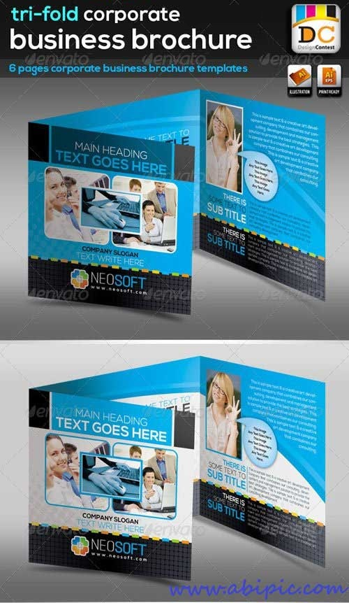 دانلود وکتور بروشور سه لت تجاری Tri-fold Corporate Business Brochure