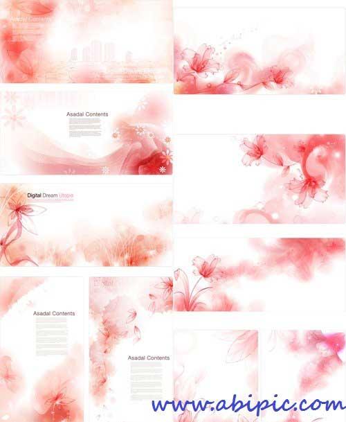 دانلود وکتور پس زمینه با طرح گل های قرمز Vector Backgrounds - Red Flowers