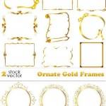 دانلود کادر و حاشیه طلایی Vectors Ornate Gold Frames